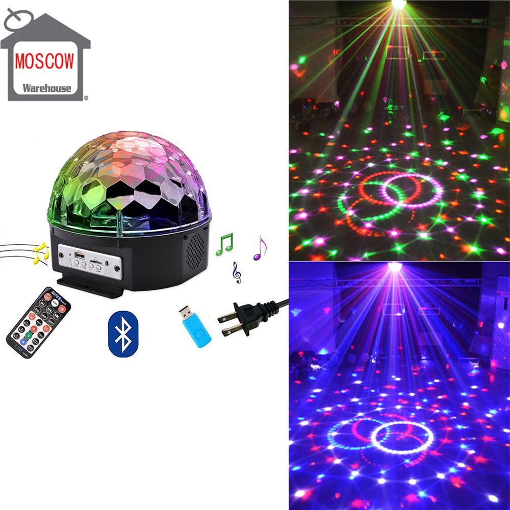 Disco Ball 9 Colors 27W Christmas Laser Projector Wedding Sound Activated Crystal Ball Party Laser Lights