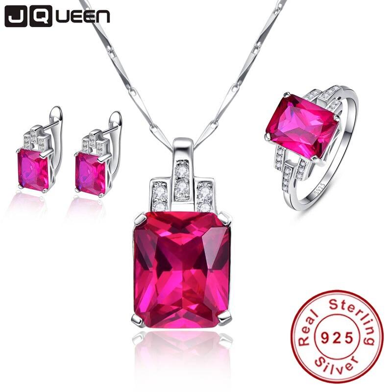 JQUEEN célèbre marque bijoux en argent Sterling femmes accessoires AAA rubis boucles d'oreilles de mariage collier anneaux ensembles avec boîte-cadeau gratuite