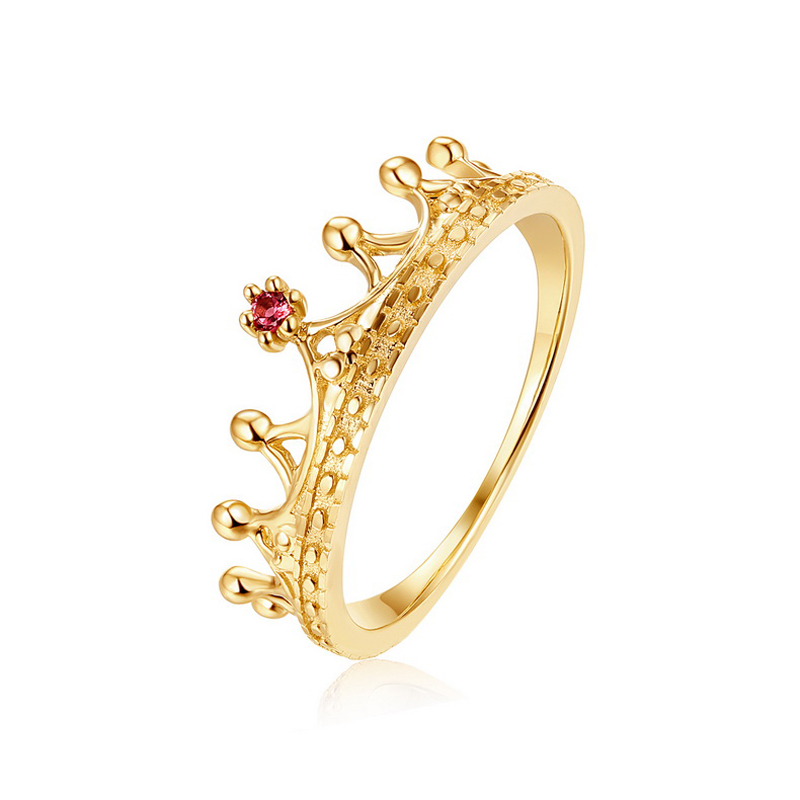 JXXGS Elegant Crown Ring Gold Color Garnet Luxury Ring 14k Gold Unique Designs Ring For Party