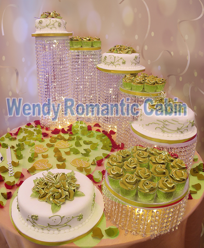 6pcs/set wedding Crystal beads cake stand acrylic cake stand wedding ...