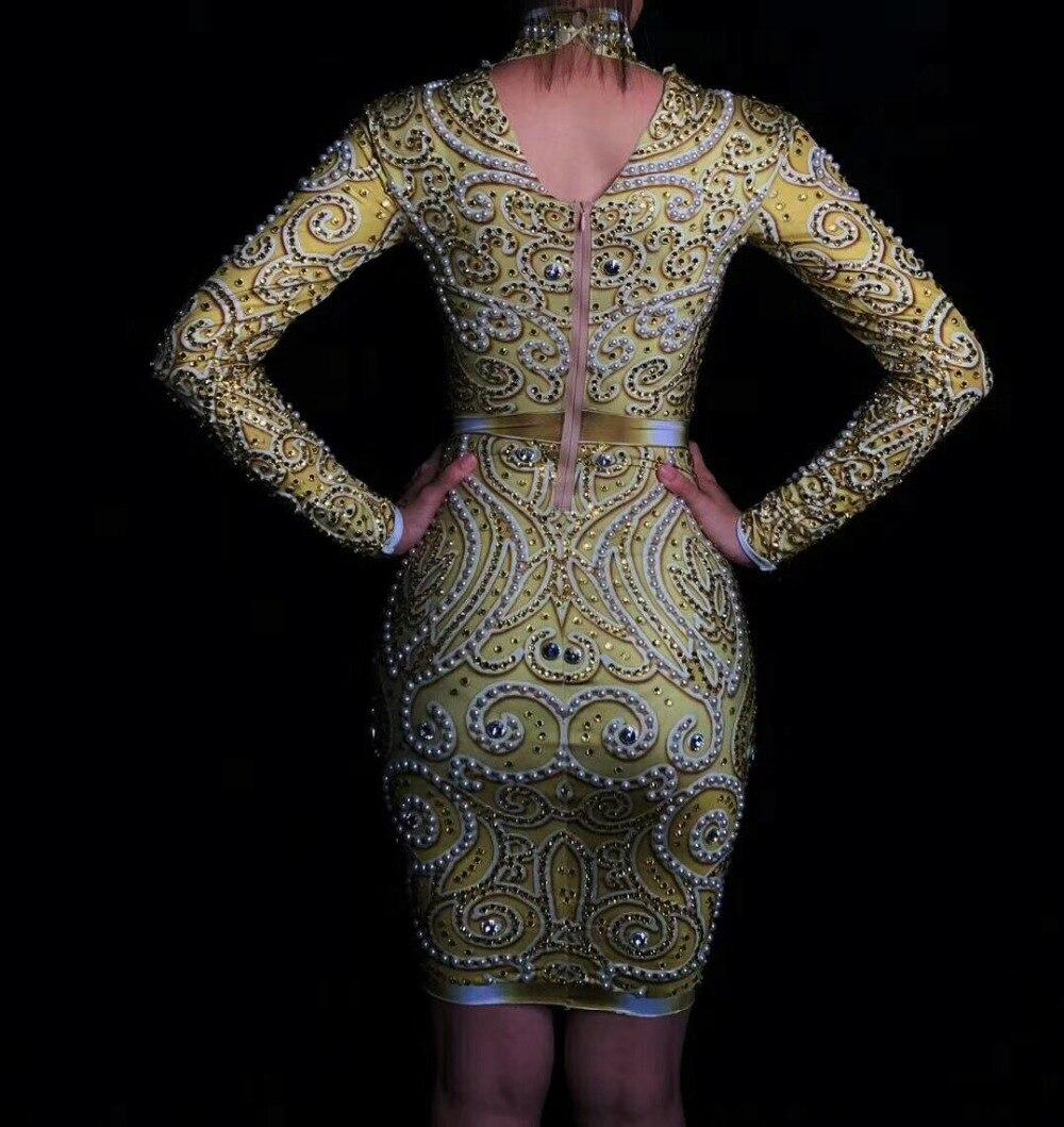 Delle donne di Nuovo Modo Brillante di Strass Perle Sexy Del Vestito A Maniche Lunghe Oro Del Vestito Femminile Cantante Celebrare Abiti Da Sera di Usura - 5