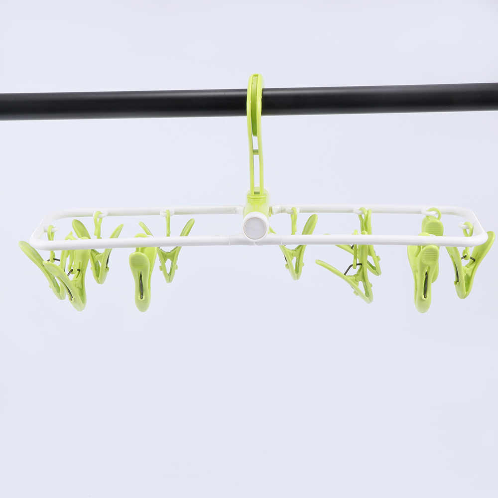 1pc Folding Clothes Hanger Dryer Hanger Colourful Plastic 12 Clothes Hanger Socks Hanger Colorful Windproof Fashion