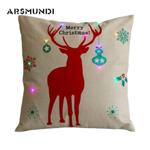 Christmas 100% Flax printed LED pillow case home use cover tree reindeer case(450mm*450mm)