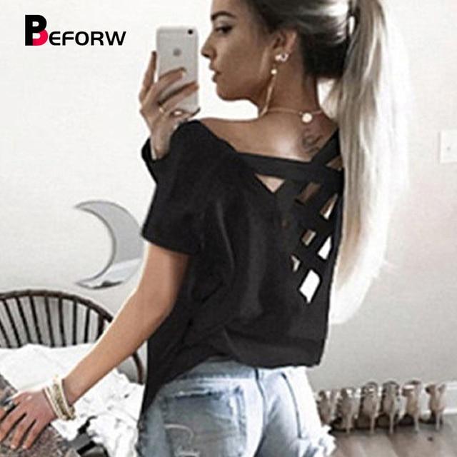 a5b0db51f729 BEFORW Sexy Backless T-shirts Summer Fashion Short Sleeves Women Tops Black  White Casual T shirt High Quality Loose Tshirt XL