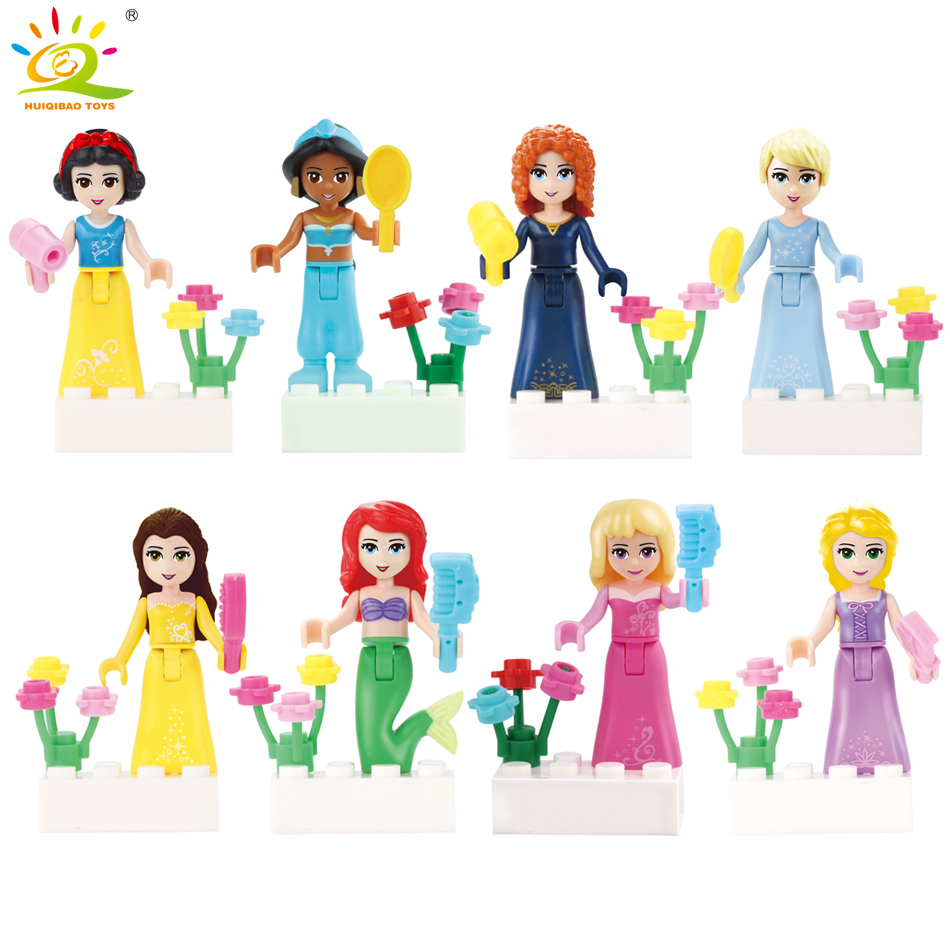 8Pcs Fairy Tale Princess Anna Elsa Girl Building Bricks Blocks Figures Children Toys Compatible With Legoed Friends for girls стоимость