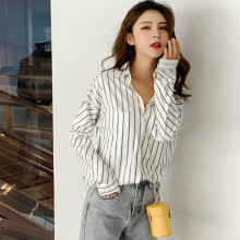 Milinsus Women Fall 2019 White Stripe Button Down Shirt for Korean Fashion Clothing Ladies Tops Womens and Blouses