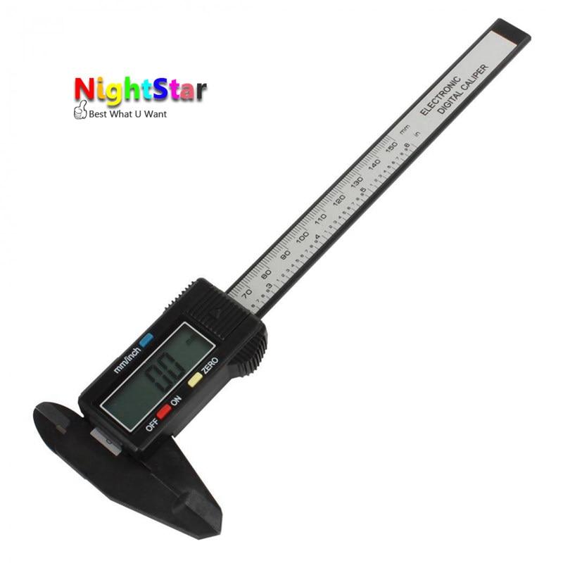 150mm 6inch LCD Digital Electronic Carbon Fiber Vernier Caliper Gauge Micrometer Measuring New