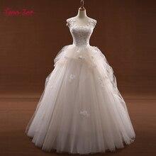 Taoo Zor Vestido de Noiva Cap-Sleeve Simple Wedding Dresses 2017 Appliques Flowers Robe de Mariage Ivory Real Photo Bridal Gown