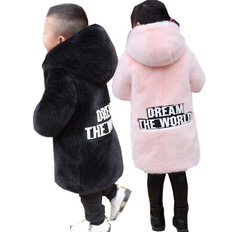 Faux Fur Hooded Long Winter Jackets For Girls 2017 Kids Pink Gray Warm Coats Girl Children Outerwear Jackets Clothing fashion girl thicken snowsuit winter jackets for girls children down coats outerwear warm hooded clothes big kids clothing gh236