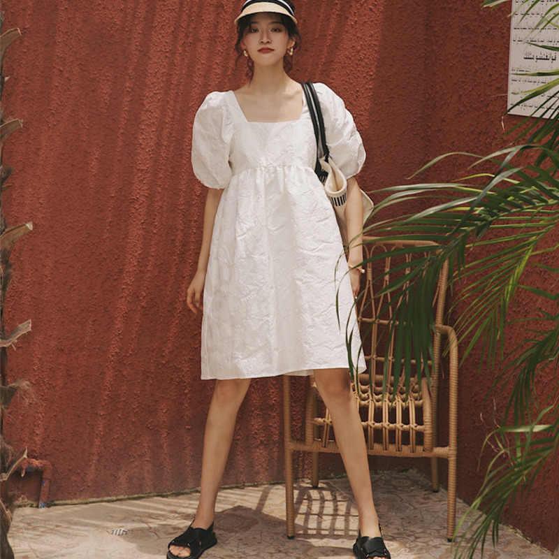 LANMREM 2020 חדש קיץ ובסתיו אופנה נשים בגדי נרגילת שרוול sqaure פנס צווארון שרוולים סוודר שמלת WH512