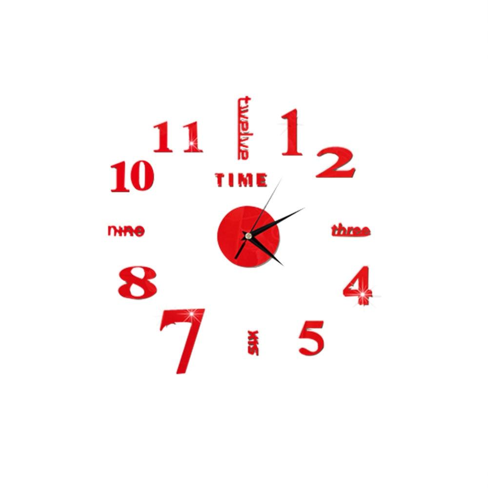DIY 3D зеркальные настенные наклейки настенные часы художественная роспись домашний Декор Гостиная ТВ Фоновые наклейки настенные часы кварцевые иглы - Цвет: E Red