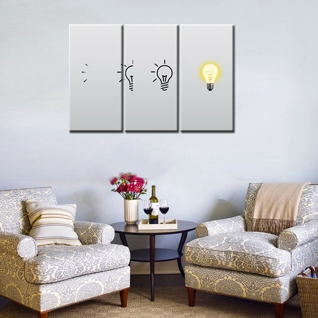 Light Up The Light Bulb 3 Panels Canvas Painting Print Abstract Artwork For  Modern Home Decor