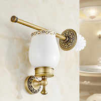 European Toilet Brush Set Copper Bathroom Antique Cup Clean Holder Retro Solid Copper Cup Sanitary Ware Bronze Brush Holder