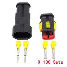 100 סטים 2 Pin AMP 1.5 מחברים, עמיד למים חוט חשמל מחבר DJ7021 1.5 רכב חלק, 20 16AWG רכב