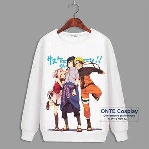 Image 1 - Japon Anime Naruto Cosplay sweats à capuche à manches longues Uchiha Sasuke imprimer polaire hauts Hatake Kakashi décontracté hiver sweats