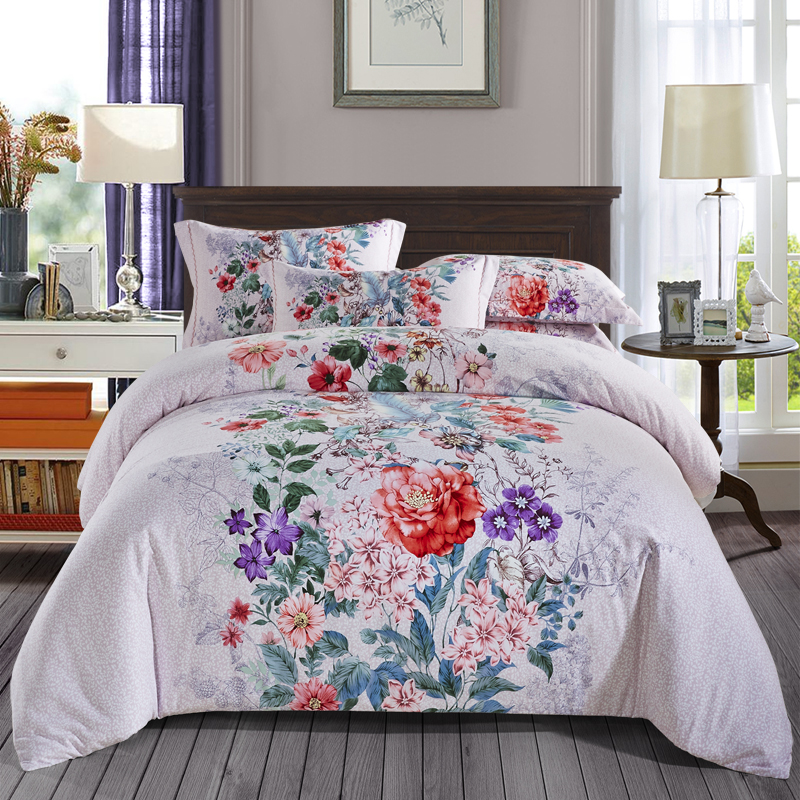 Colorful Floral Print Bedding Set Queen King Size Bed Sheets Duvet Cover Pillow Case Brushed Cotton Bedroom Set For Sale