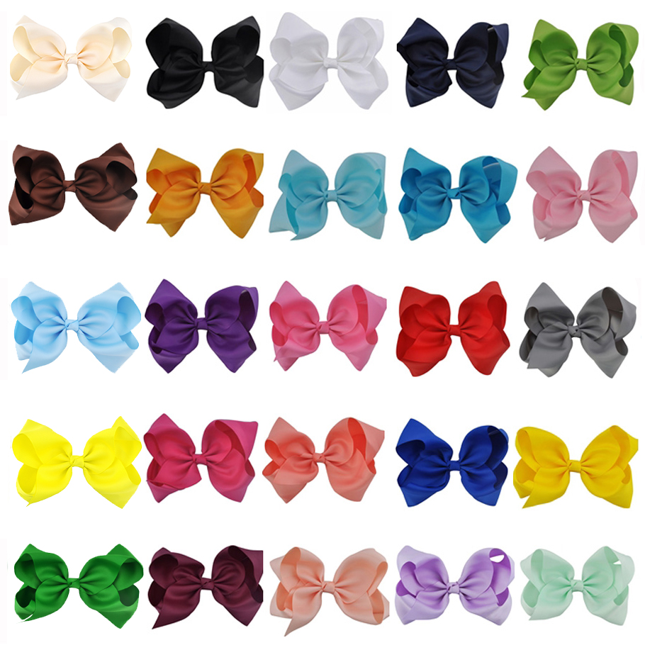 8 Inches Large Solid Grosgrain Ribbon Hair Bow Boutique Dancing French Clip Paris White Bows For Women Girls Hair Accessories