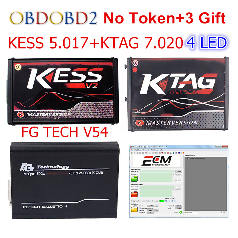 Red KESS V5.017 V2.47+ 4 LED KTAG V7.020 V2.23 + FG TECH V54 0475 No Token KESS 5.017 + K-TAG K Tag 7.020 FGTECH ECU Programmer