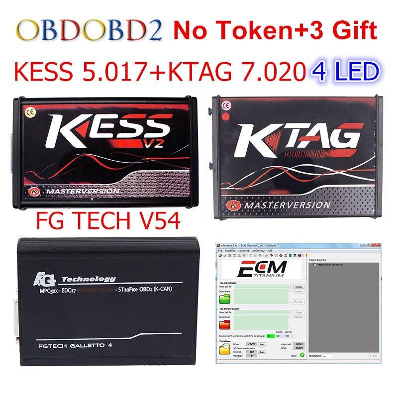 Rouge KESS V5.017 V2.47 + 4 LED KTAG V7.020 V2.23 + FG TECH V54 0475 Aucun Jeton KESS 5.017 + k-TAG K Tag 7.020 FGTECH ECU Programmeur