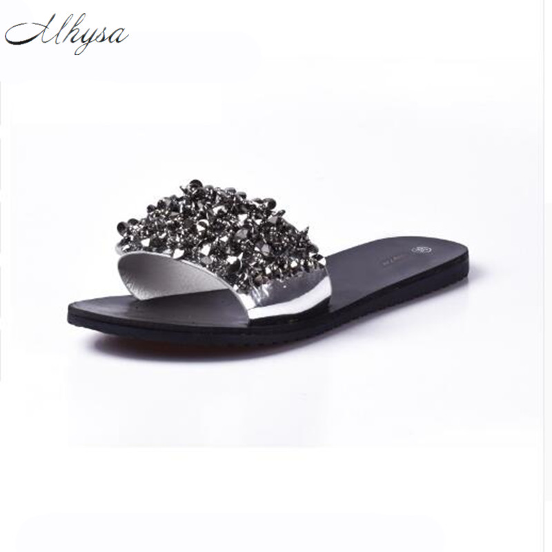 Mhysa  Women Sandals Flips Flops Summer Style Shoes  Wedges Sandals Fashion Rivet Crystal Platform Female Slides Ladies Shoes phyanic 2017 gladiator sandals gold silver shoes woman summer platform wedges glitters creepers casual women shoes phy3323