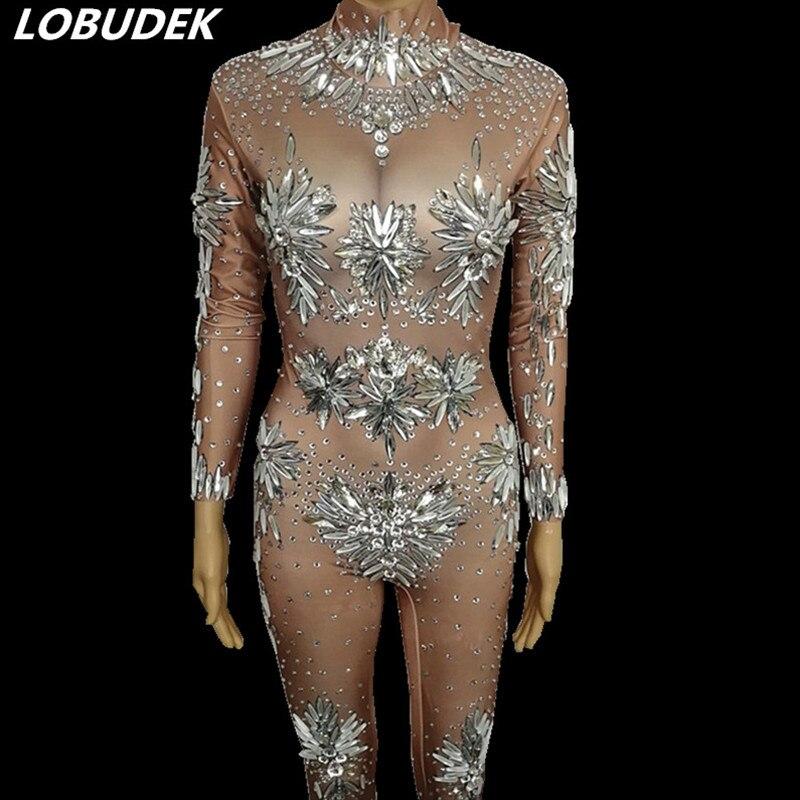 Телесный цветной горный хрусталь растягивающийся костюм стеклянные кристаллы Обтягивающие Комбинезоны женские для певицы для сцены одежд