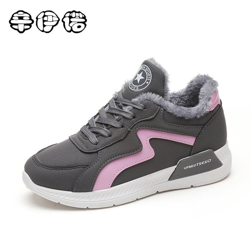 Women Boots Snow Warm Winter Sneakers PU Boots Botas Lace Up Mujer Fur Ankle Boots Ladies Winter Shoes Black Gray Size 40 glowing sneakers usb charging shoes lights up colorful led kids luminous sneakers glowing sneakers black led shoes for boys