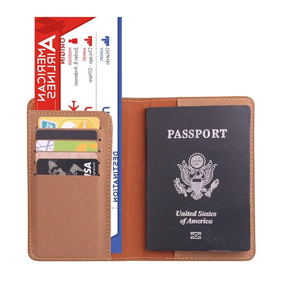 Function PU Leather Passport Holder Travel Accessories Women Passport Cover Storage Organizer Busines Credit ID Card Wallet Case
