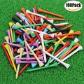 CRESTGOLF 70mm 2-3/4 Professional Wooden Golf tees Golf Wood Tees with Several Colors 100pcs/pack