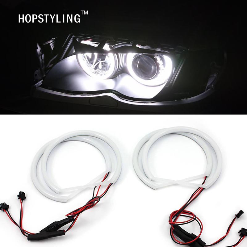 Car-styling 1 SET (2X 146mm + 2X 131 mm) White Halo Cotton Light car smd LED Angel eyes para BMW E46 sin proyector iluminación automática