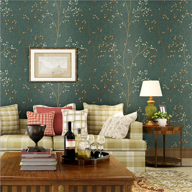Beibehang American Retro Dark Green Leaf Wallpaper Bedroom Living Room TV Wall Background Decorative House