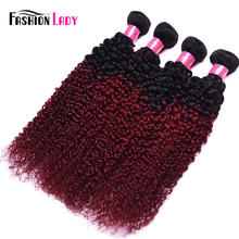 Fashion Lady Pre-Colored 4 Bundles Indian Curly Hair Bundles Human Hair Bundles Ombre 1b/burg Hair Weave Burgundy Weave Non-remy(China)