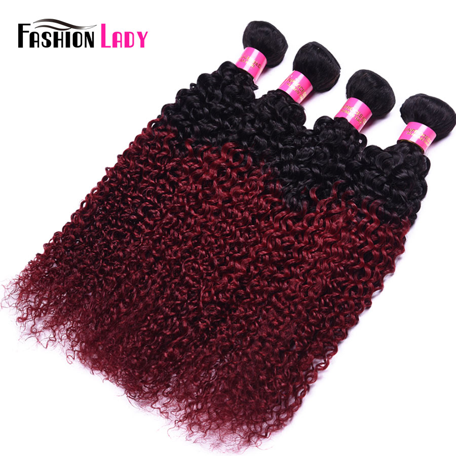 Fashion Lady Pre-Colored 4 Bundles Indian Curly Hair Bundles Human Hair Bundles Ombre 1b/burg Hair Weave Burgundy Weave Non-remy