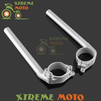 Aluminum Silver Fork Tube Adjustable Handlebars Handle Bar Clipons Clip on For Yamaha YZF R1 YZF R1 2004 2005 2006 2007 2008