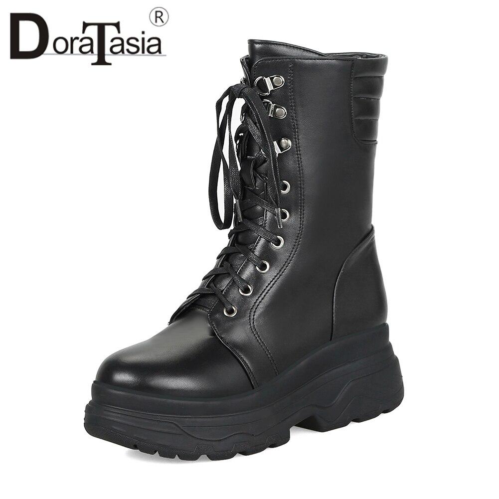 DORATASIA Large Size 33 42 Black Fashion mid calf Platform Motorcycle Boots Women Winter 2019 Fur