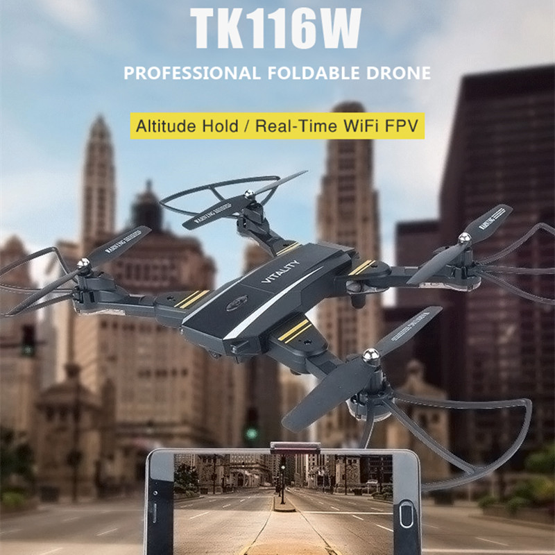 VISUO TK116W WiFi FPV Drone With Camera 2MP HD Selfie Dron Foldable RC Helicopter 2.4G 4CH 6Axis Quadcopter RC Drones VS XS809