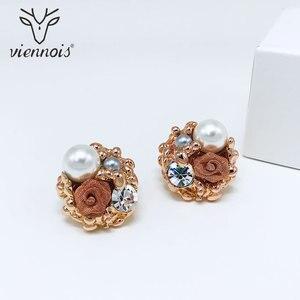Image 4 - Viennes imitacja perły naszyjnik zestaw dla kobiet różowe złoto i srebro stop cynkowy kwiat ślub betonowa Bridal cyrkon biżuteria 2019