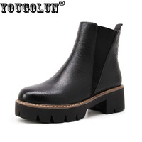 YOUGOLUN Women Ankle Boots Autumn Black Genuine Leather Platform Shoes Square Heel 5 Cm Heels Thick