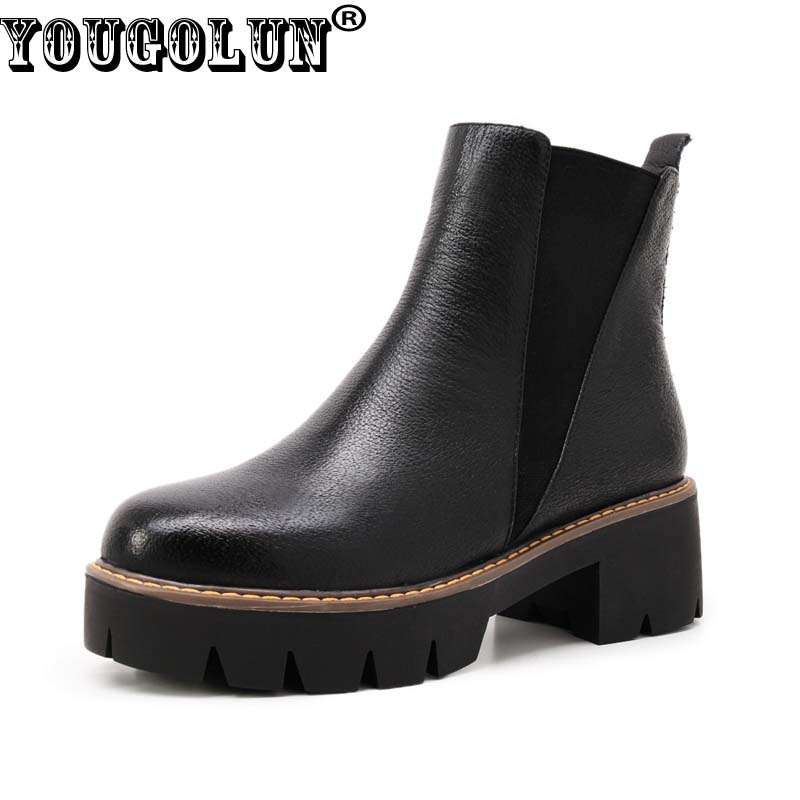 YOUGOLUN Women Ankle Boots 2017 Autumn Black Genuine Leather Square Heel 5 cm Heels Thick Heel Round toe Platform Shoes #Y-061 2017 autumn fashion black genuine leather chunky heels round toe dress office career zip square heel shoes chaussure shofoo