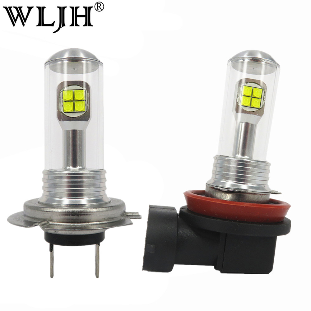 WLJH 2x Car Led T10 H7 H8 H9 H11 9006 881 LED 80W 2000LM Light Auto Parking Driving Daytime Running Lights DRL Fog Lamp Bulb