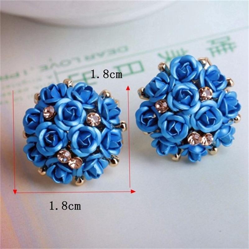 1pair Flower Crystal Rhinestone Earrings for Women Lady Girls Elegant Ear Stud Earring Jewelry Fashion Gifts