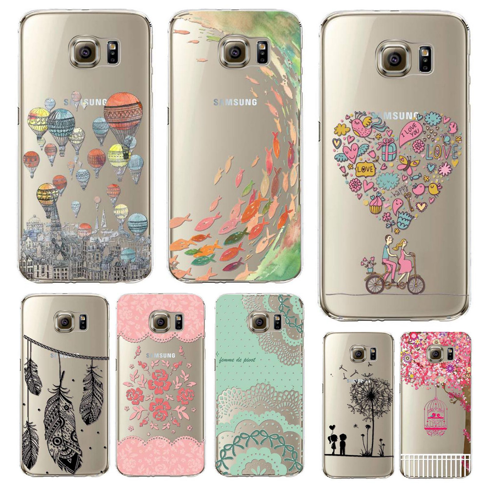 Phone Cover For Samsung Galaxy S7 Soft TPU Colorful Clear Phone Case for Samsung Phone Bag Printed  Peacock Cat Heart