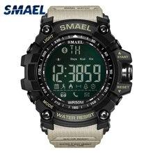 Для мужчин цифровой Спорт мужской часы Smael бренд Kahki Стиль соединение bluetooth светодиодный Smart наручные часы Хронограф Авто Дата Горячие 1617B