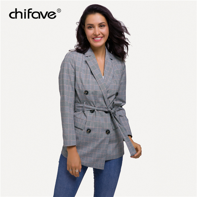 chifave Women's Jacket Fall 2018 Slim Sashes Plaid Long Blazer Female Coat Casual Office Double Breasted Ladies Blazer Plus size
