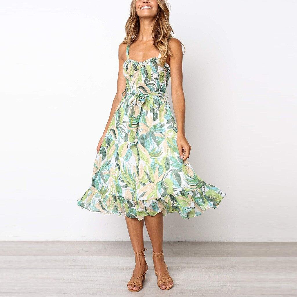 Womail Beach Casual Floral Leaf Printed Sleeveless Chiffon Material Summer Fresh Style Fashion Sexy Dress Women 19APR01