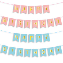 Happy Birthday Pink/Blue Paperboard Card Letter Banner Baby Shower Decoration Birthday Party Decoration Supplies kigurumi relax bear onesies pajamas cartoon animal cosplay pyjamas adult onesies costume party dress halloween pijamas