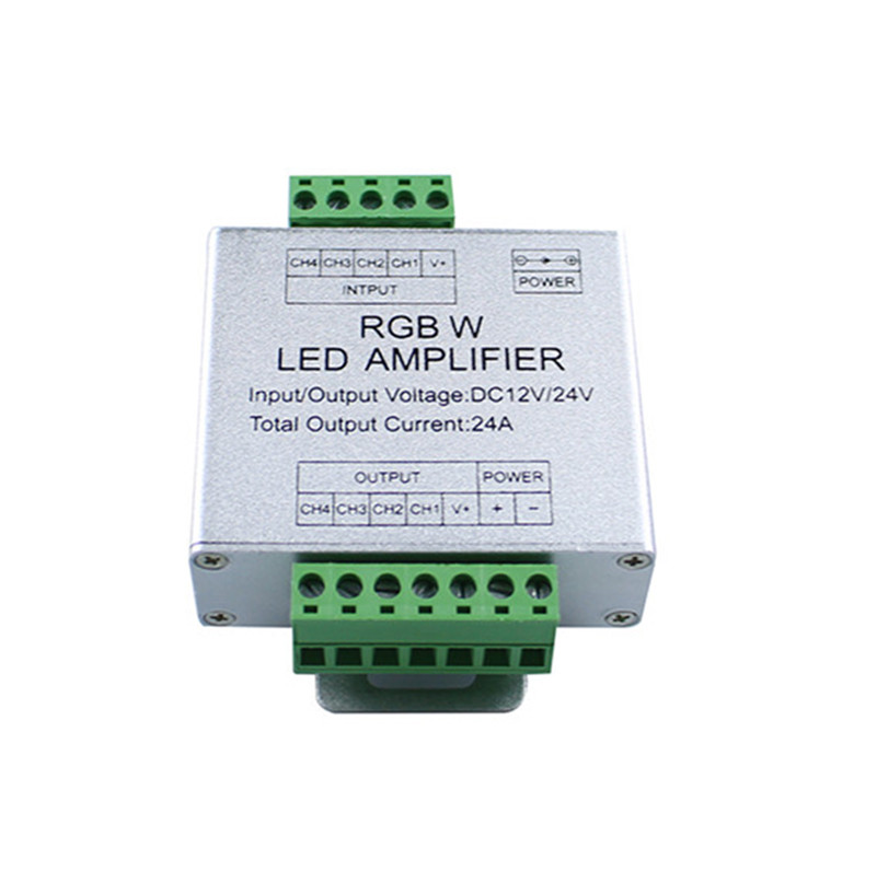 LED signal amplifier DC12 24V 24A RGBW strip amplifier for SMD5050 RGBW led strip aluminum