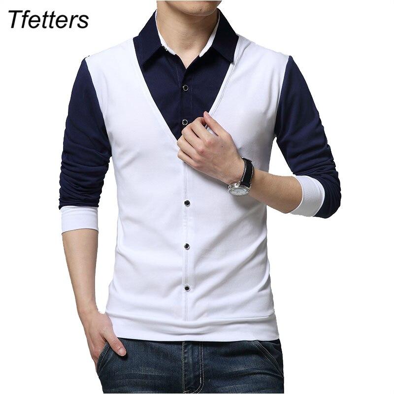 TFETTERS Brand Autumn Mens T Shirts Fashion 2019 Fake Two Designer Clothing Cool T-shirt Men Long Sleeve T Shirt Casual Male