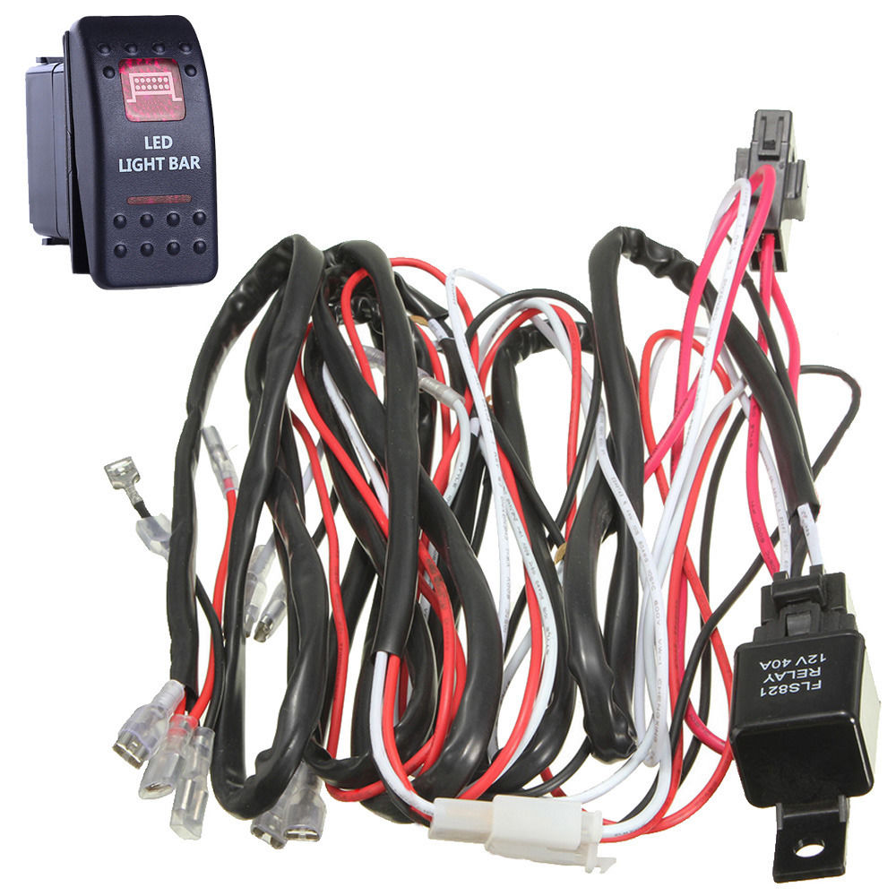 hight resolution of ee support 40a wiring harness kit red led light bar rocker switch toggle lamp fuse spst xyz xy01