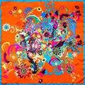 100% Silk Scarf Women Scarf Flower Hijab Scarf Silk Bandana 2017 Top Print Foulard Hot Middle Square Silk Scarf Gift for Lady