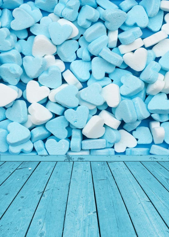 Customize washable wrinkle free blue white heart candy photography backdrops for baby photo studio portrait backgrounds S-955 8x10ft valentine s day photography pink love heart shape adult portrait backdrop d 7324